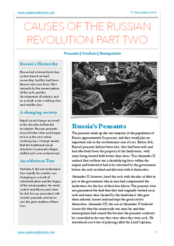 Causes of the Russian Revolution Part Two