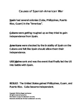 Causes of the Spanish-American War US History STAAR EOC Prep