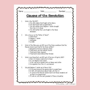 Causes of the Texas Revolution -Quiz