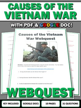 Causes of the Vietnam War - Webquest with Key (Google Docs Included)
