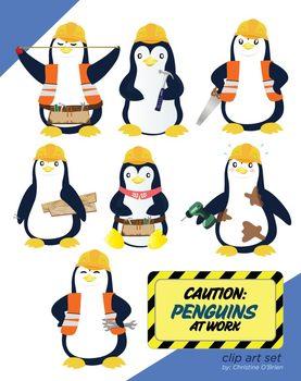 Caution: Penguins at Work Clip Art Set