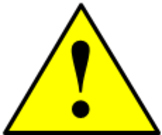 Caution triangle & exclamation point animated GIF, small with slow pulsation