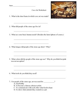 Cave Art Worksheet