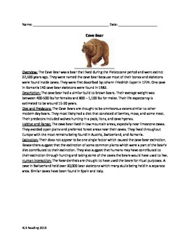 Cave Bear - Extinct - Review Article - Questions Vocab Word Search Facts Info