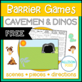 FREE Cavemen and Dinos Themed Barrier Game Speech Therapy