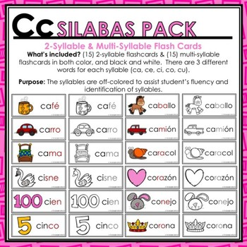 Cc Spanish Syllables Pack - La Silaba Cc
