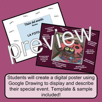 Celebración Digital Poster w/ Preterite & Imperfect / Realidades 2 Chapter 4