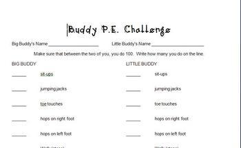 Celebrate 100 Days of School Buddy P.E. Activity