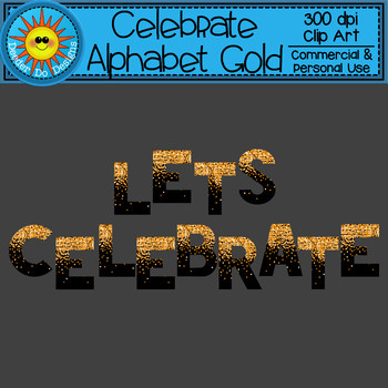 Celebrate Alphabet and Numbers Gold Clip Art FREEBIE!
