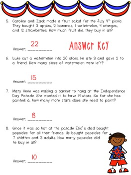 Celebrate America Addition and Subtraction Worksheet