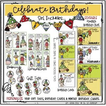 Celebrate Birthdays!..Editable Tags, Cards, Bookmarks, Homework Pass