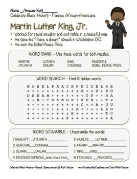 Celebrate Black History - Martin Luther King, Jr. MLK - Search, Scramble & Maze!