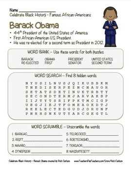 Celebrate Black History Month -  Barack Obama - Word Searc