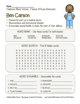 Celebrate Black History Month – Ben Carson - Word Search,