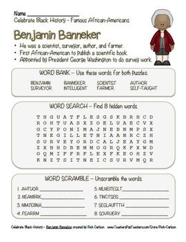 Celebrate Black History Month – Benjamin Banneker - Word Search, Scramble,&Maze!