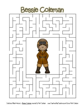 Celebrate Black History Month - Bessie Coleman - Easy Maze! ( color version)