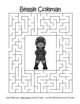Celebrate Black History Month - Bessie Coleman - Easy Maze! (grayscale)
