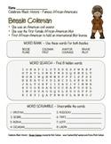 Celebrate Black History Month – Bessie Coleman - Word Search, Scramble, & Maze!