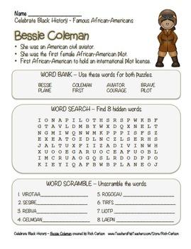 Celebrate Black History Month – Bessie Coleman - Word Sear