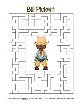 Celebrate Black History Month - Bill Pickett - Easy Maze! (color version)