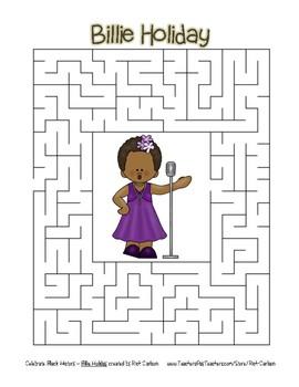 Celebrate Black History Month - Billie Holiday - Easy Maze! (color version)