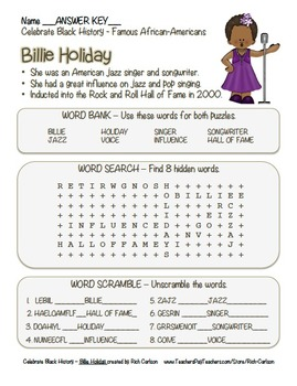 Celebrate Black History Month – Billie Holiday - Word Search, Scramble, & Maze!