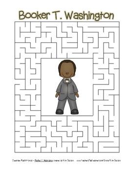 Celebrate Black History Month - Booker T. Washington -Easy Maze! (color version)