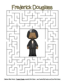 Celebrate Black History Month - Frederick Douglass -Word Search, Scramble,&Maze!