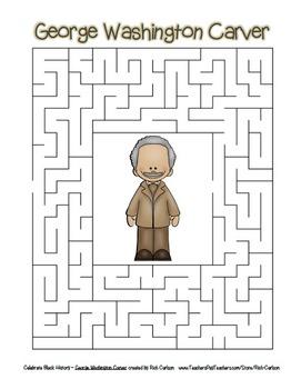 Celebrate Black History Month - George Washington Carver  Search, Scramble&Maze!