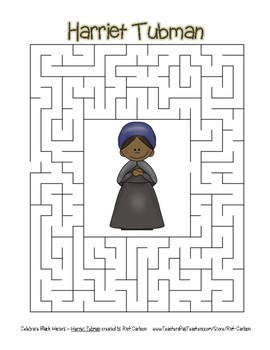 Celebrate Black History Month - Harriet Tubman - Easy Maze! (color version)