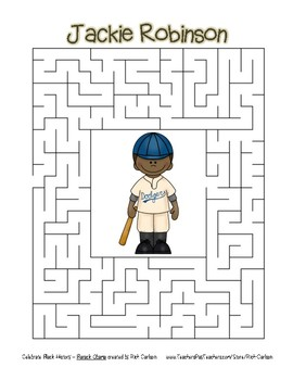 Celebrate Black History Month - Jackie Robinson - Easy Maze! (color version)
