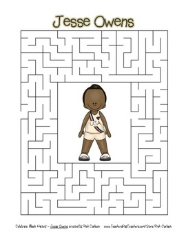 Celebrate Black History Month - Jessie Owens - Easy Maze! (color version)