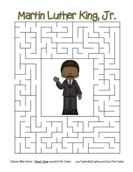 Celebrate Black History Month - Martin Luther King, Jr. -Easy Maze! (color ver.)