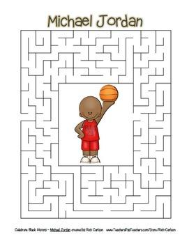 Celebrate Black History Month – Michael Jordan -Word Search, Scramble, and Maze!