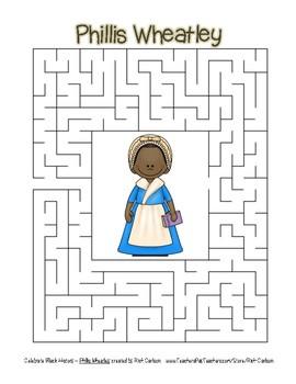 Celebrate Black History Month - Phillis Wheatley - Easy Maze! (color version)