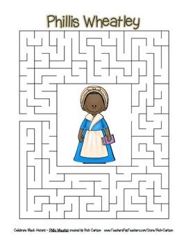 Celebrate Black History Month – Phillis Wheatley- Word Search, Scramble, & Maze!
