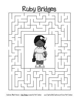 Celebrate Black History Month - Ruby Bridges - Easy Maze! (grayscale)