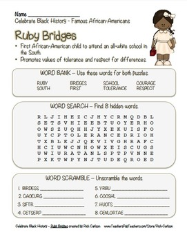 Celebrate Black History Month – Ruby Bridges - Word Search