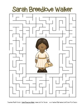 Celebrate Black History Month - Sarah Breedlove Walker - Easy Maze! (color ver.)