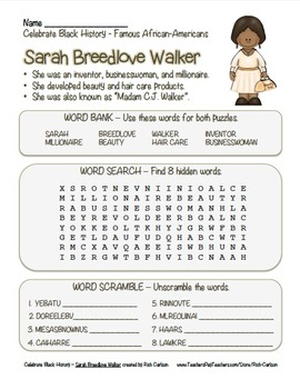 Celebrate Black History Month –Sarah Breedlove Walker -Search, Scramble, & Maze!