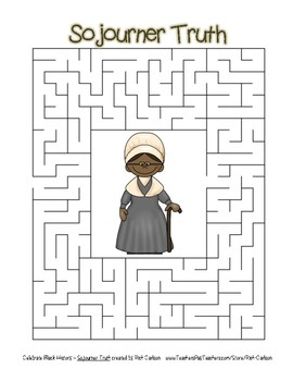 Celebrate Black History Month – Sojourner Truth – Easy Maze! (color version)