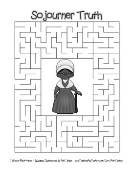 Celebrate Black History Month - Sojourner Truth - Easy Maze! (grayscale)