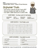 Celebrate Black History Month – Sojourner Truth - Word Search, Scramble, & Maze!