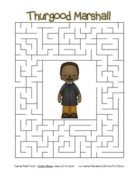 Celebrate Black History Month - Thurgood Marshall - Easy Maze! (color version)