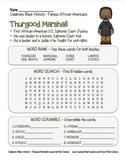 Celebrate Black History Month – Thurgood Marshall -Word Search, Scramble,& Maze!