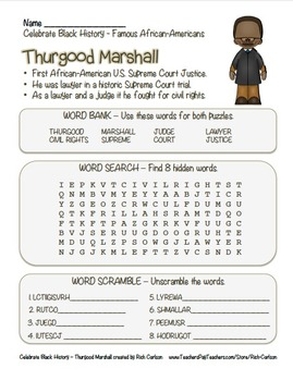 Celebrate Black History Month – Thurgood Marshall -Word Search, Scramble,& Maze!