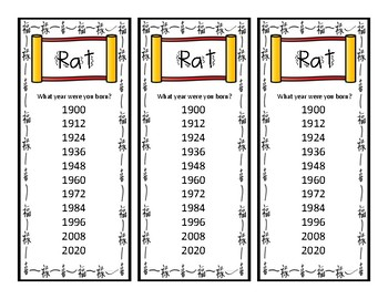 celebrate chinese new year with zodiac bookmarks - Chinese New Year 1984