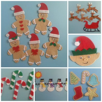 Celebrate Christmas: Counting to 5 at Christmas Time Felt Board Pattern eBook