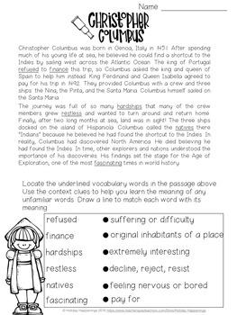 Celebrate Christopher Columbus Day: A No Prep 3rd-5th Grade Literacy Unit