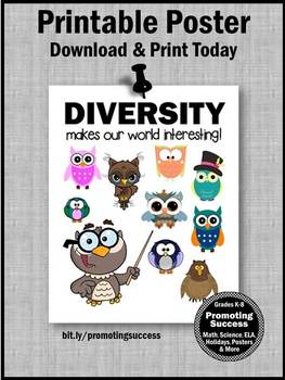 Celebrate Diversity Quote, Growth Mindset Poster, Classroom Decor Owls